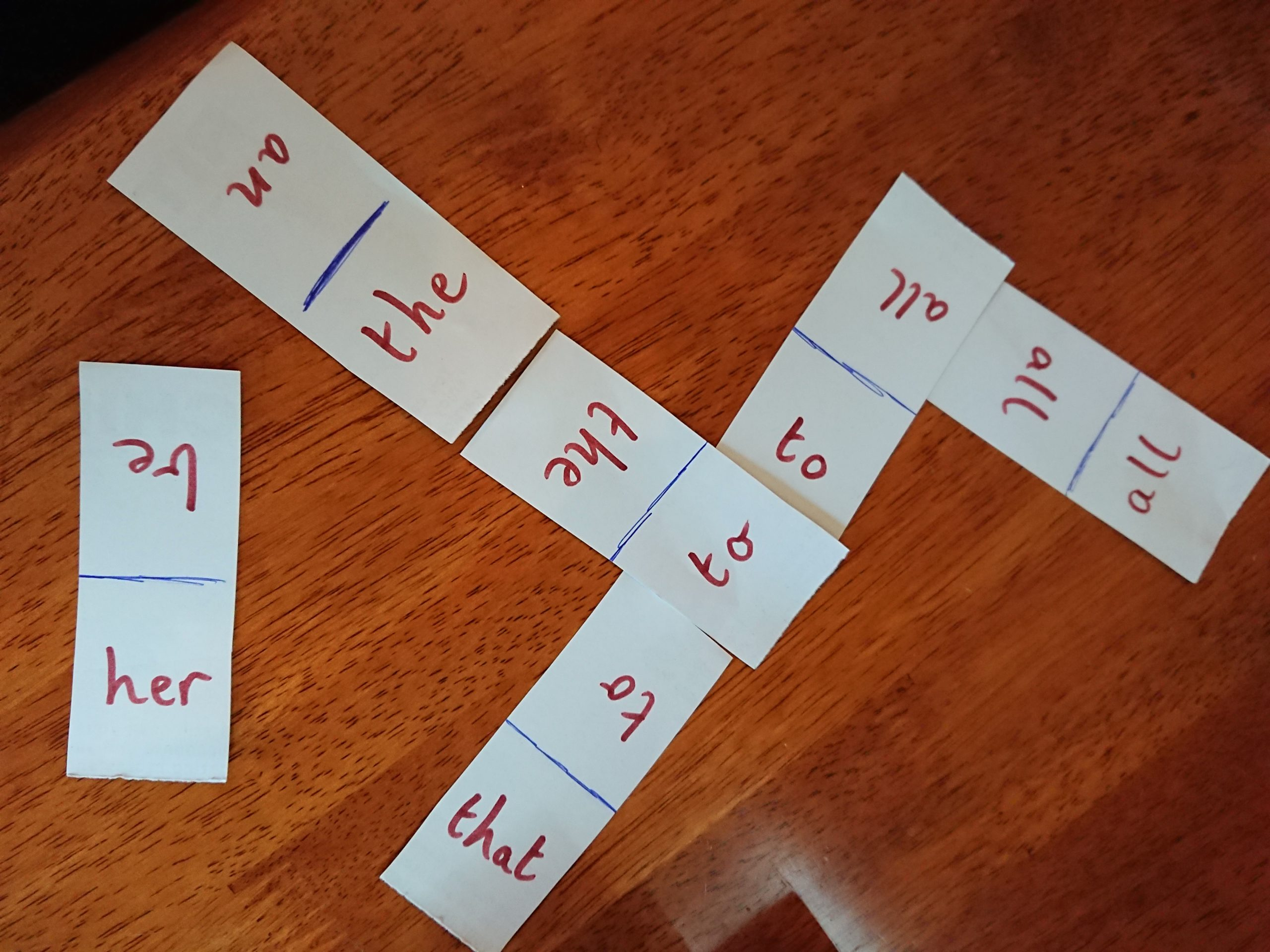Dominos matching game using SIGHTWORDS